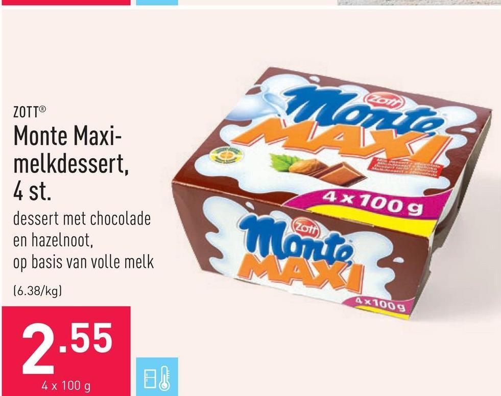 Monte Maxi-melkdessert, 4 st. dessert met chocolade en hazelnoot, op basis van volle melk