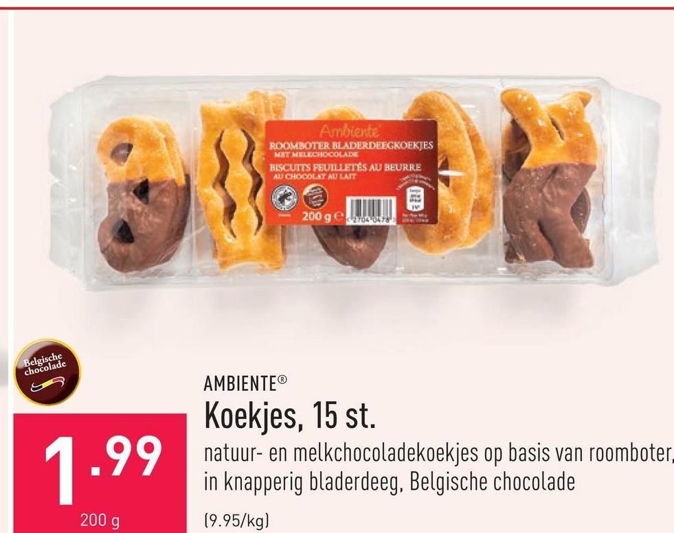 Koekjes, 15 st. natuur- en melkchocoladekoekjes op basis van roomboter, in knapperig bladerdeeg, Belgische chocolade