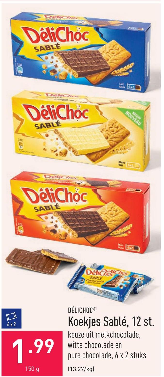 Koekjes Sablé, 12 st. keuze uit melkchocolade, witte chocolade en pure chocolade, 6 x 2 stuks