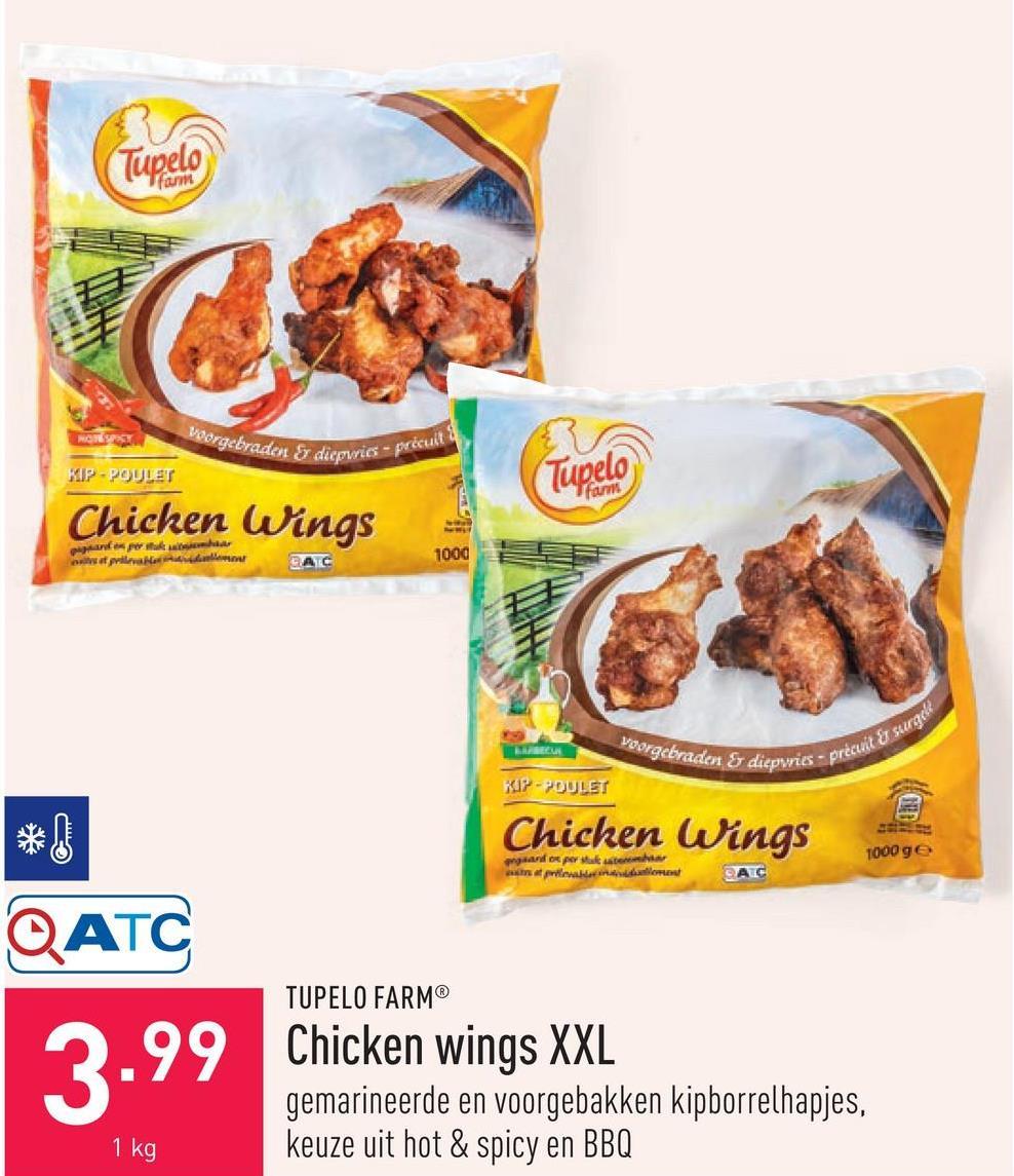 Chicken wings XXL gemarineerde en voorgebakken kipborrelhapjes, keuze uit hot & spicy en BBQ