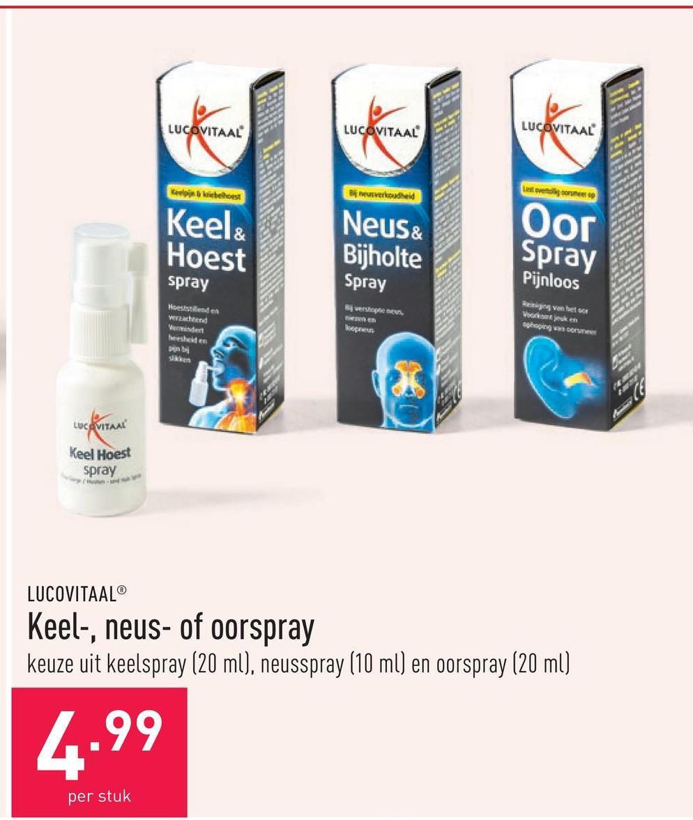 Keel-, neus- of oorspray keuze uit keelspray (20 ml), neusspray (10 ml) en oorspray (20 ml)