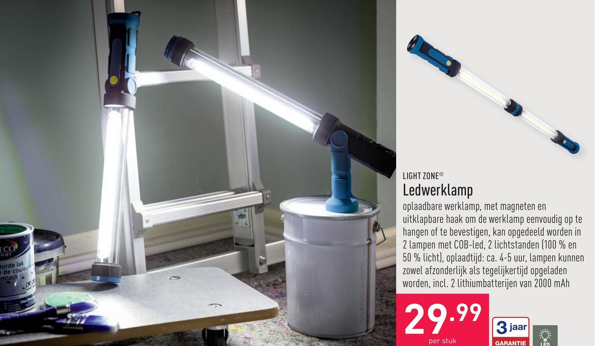 Ledwerklamp oplaadbare werklamp, met magneten en uitklapbare haak om de werklamp eenvoudig op te hangen of te bevestigen, kan opgedeeld worden in 2 lampen met COB-led, 2 lichtstanden (100 % en 50 % licht), oplaadtijd: ca. 4-5 uur, lampen kunnen zowel afzonderlijk als tegelijkertijd opgeladen worden, incl. 2 lithiumbatterijen van 2000 mAh