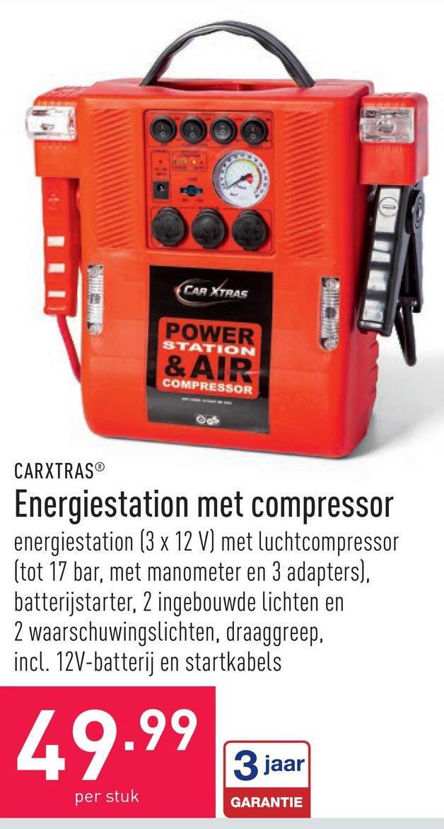 Energiestation met compressor energiestation (3 x 12 V) met luchtcompressor (tot 17 bar, met manometer en 3 adapters), batterijstarter, 2 ingebouwde lichten en 2 waarschuwingslichten, draaggreep, incl. 12V-batterij en startkabels
