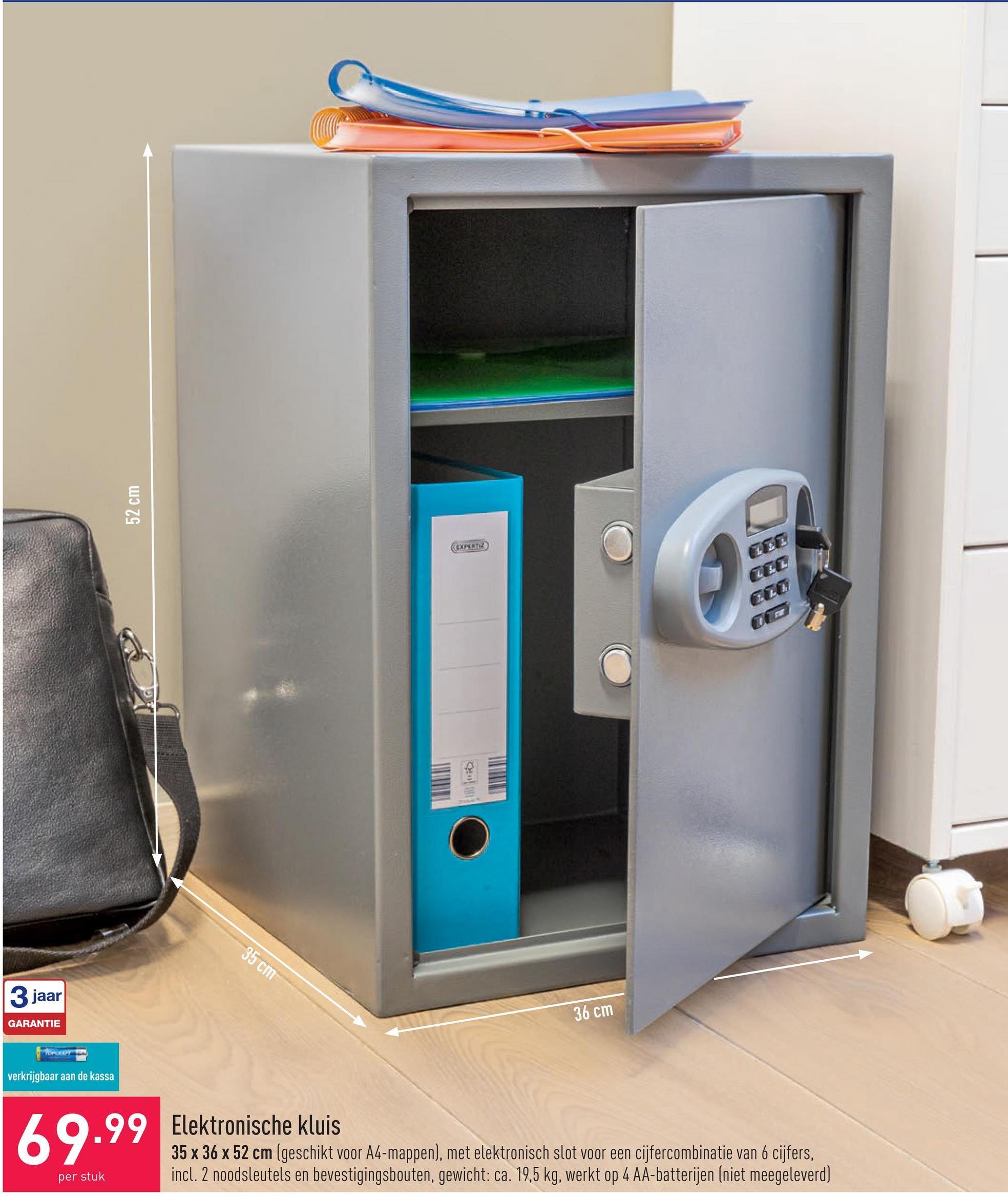 Elektronische kluis 35 x 36 x 52 cm (geschikt voor A4-mappen), met elektronisch slot voor een cijfercombinatie van 6 cijfers, incl. 2 noodsleutels en bevestigingsbouten, gewicht: ca. 19,5 kg, werkt op 4 AA-batterijen (niet meegeleverd)