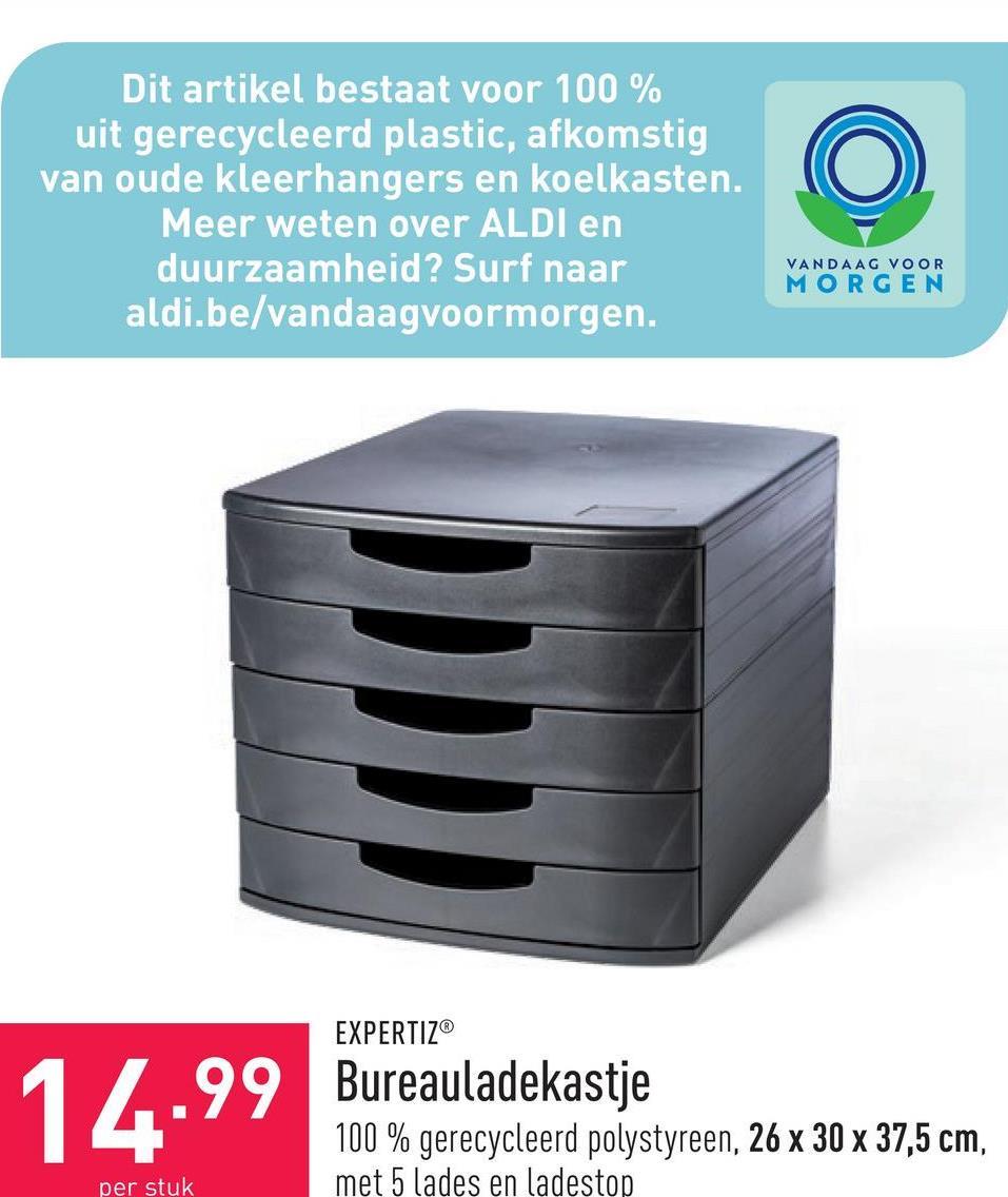 Bureauladekastje 100 % gerecycleerd polystyreen, 26 x 30 x 37,5 cm, met 5 lades en ladestop