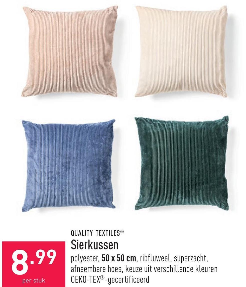 Sierkussen polyester, 50 x 50 cm, ribfluweel, superzacht, afneembare hoes, keuze uit verschillende kleuren, OEKO-TEX®-gecertificeerd