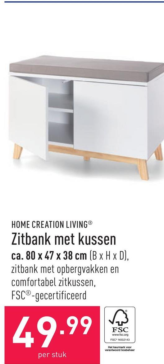 Zitbank met kussen ca. 80 x 47 x 38 cm (B x H x D), zitbank met opbergvakken en comfortabel zitkussen, FSC®-gecertificeerd