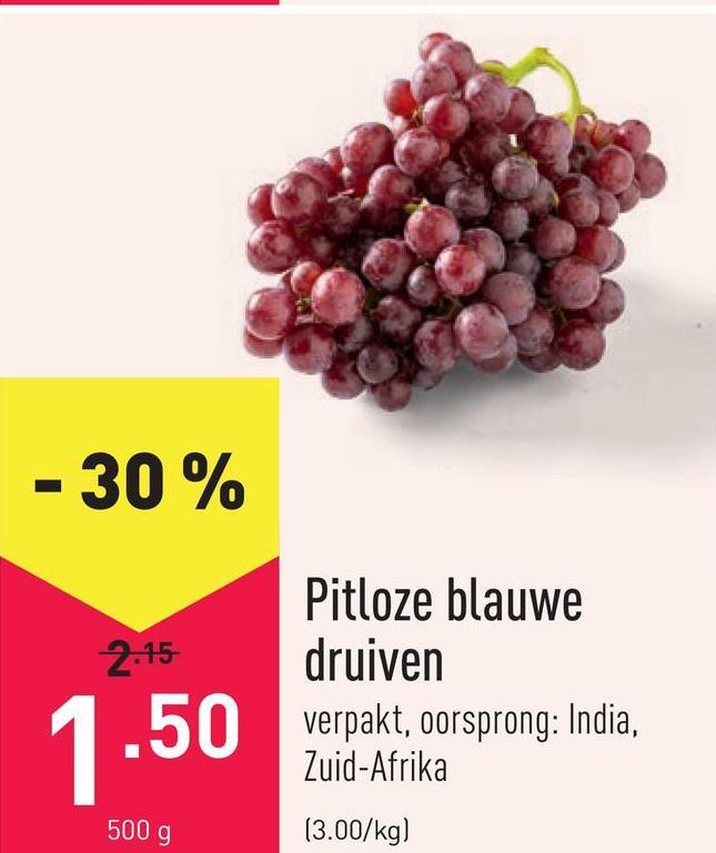 Pitloze blauwe druiven verpakt, oorsprong: India, Zuid-Afrika