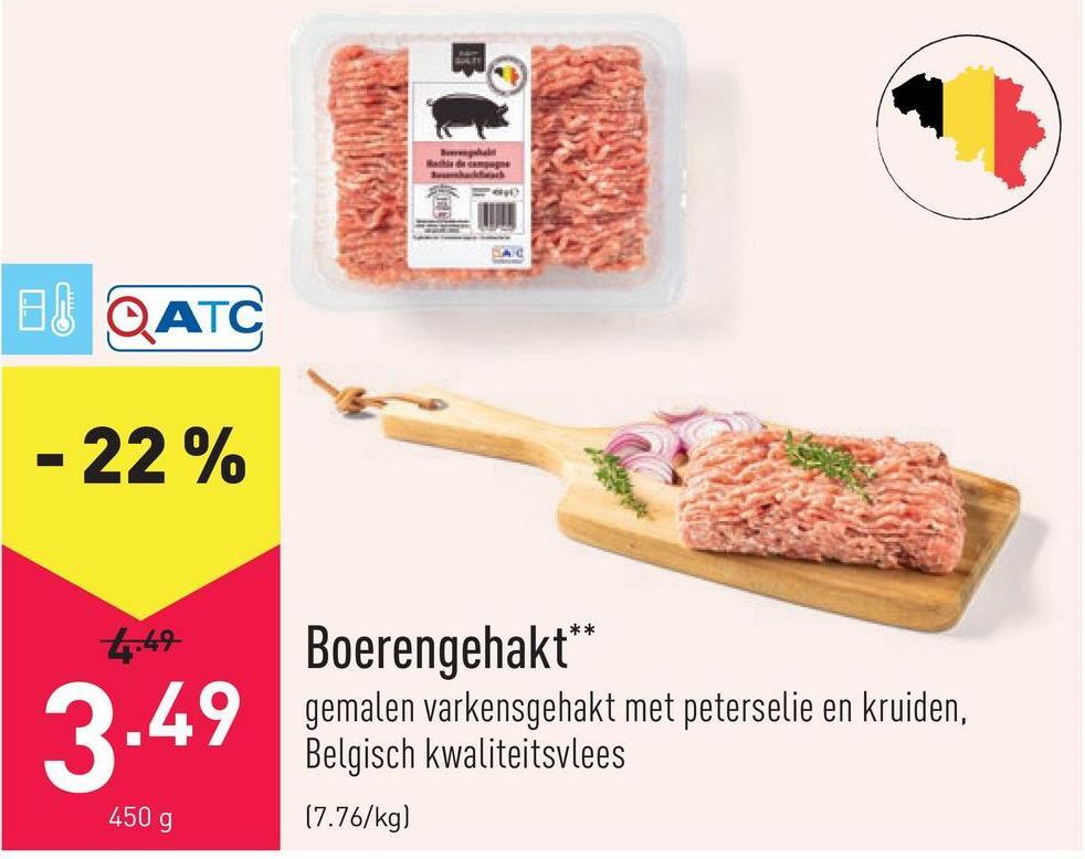 Boerengehakt gemalen varkensgehakt met peterselie en kruiden, Belgisch kwaliteitsvlees