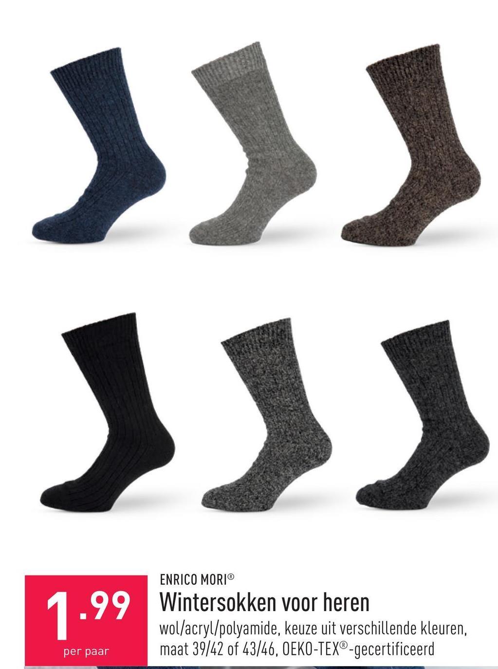 Wintersokken voor heren wol/acryl/polyamide, keuze uit verschillende kleuren, maat 39/42 of 43/46, OEKO-TEX®-gecertificeerd