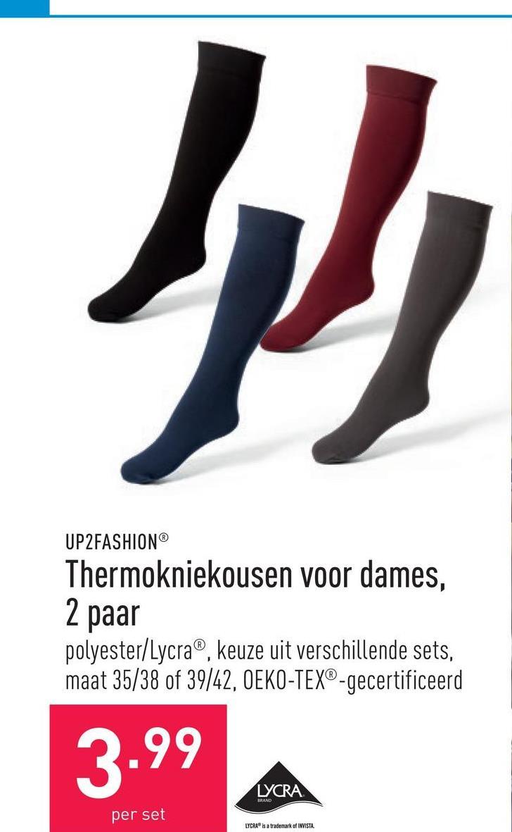 Thermokniekousen voor dames, 2 paar polyester/Lycra®, keuze uit verschillende sets, maat 35/38 of 39/42, OEKO-TEX®-gecertificeerd
