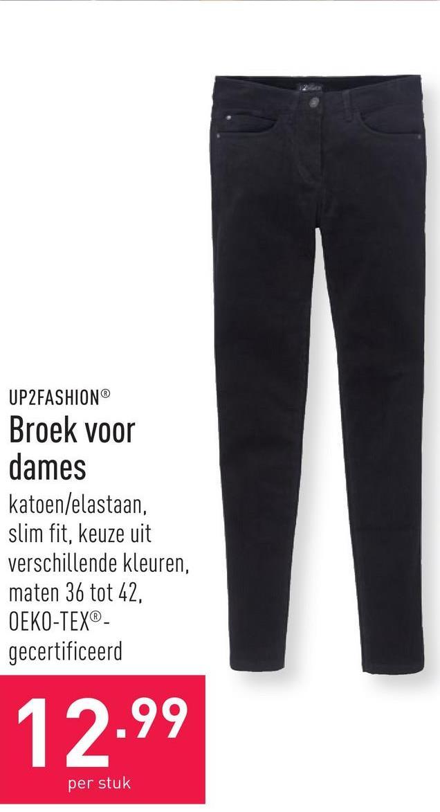 Broek voor dames katoen/elastaan, slim fit, keuze uit verschillende kleuren, maten 36 tot 42, OEKO-TEX®-gecertificeerd