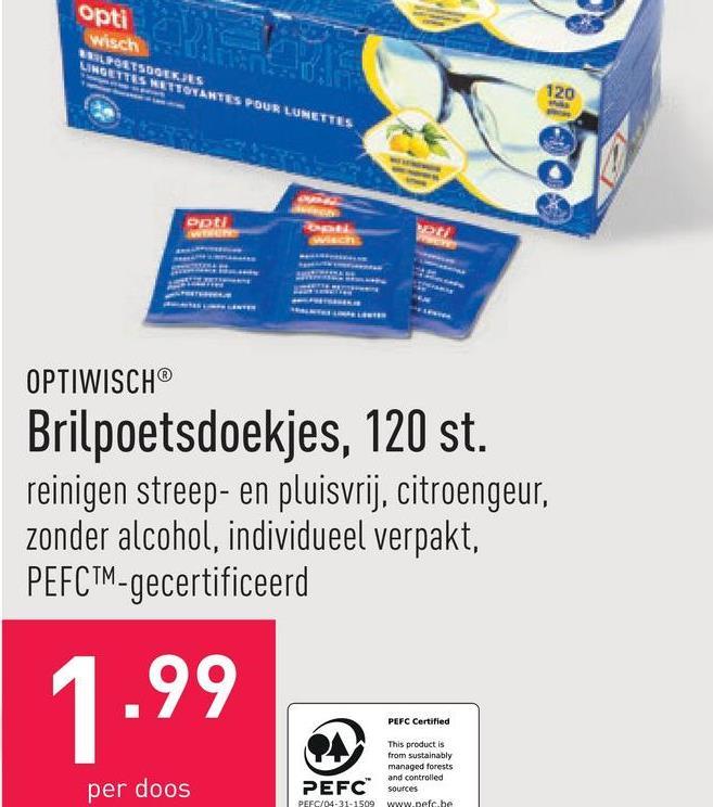 Brilpoetsdoekjes, 120 st. reinigen streep- en pluisvrij, citroengeur, zonder alcohol, individueel verpakt, PEFC™-gecertificeerd