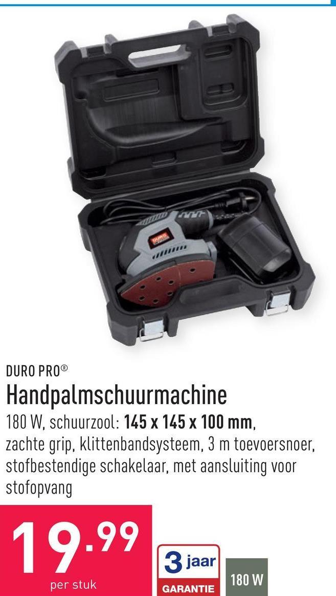 Handpalmschuurmachine 180 Wschuurzool: 145 x 145 x 100 mmzachte gripklittenbandsysteem3 m toevoersnoerstofbestendige schakelaarmet aansluiting voor stofopvang