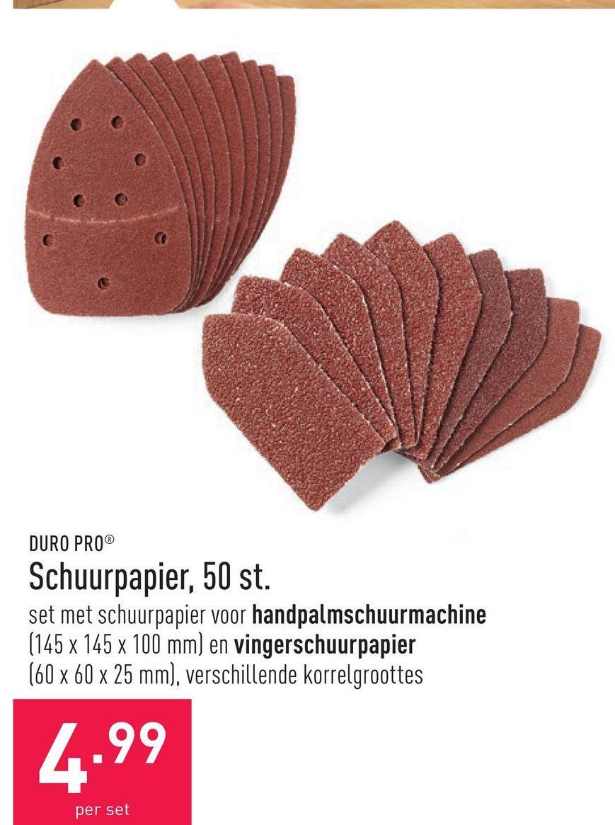 Schuurpapier, 50 st. set met schuurpapier voor handpalmschuurmachine (145 x 145 x 100 mm) en vingerschuurpapier (60 x 60 x 25 mm), verschillende korrelgroottes