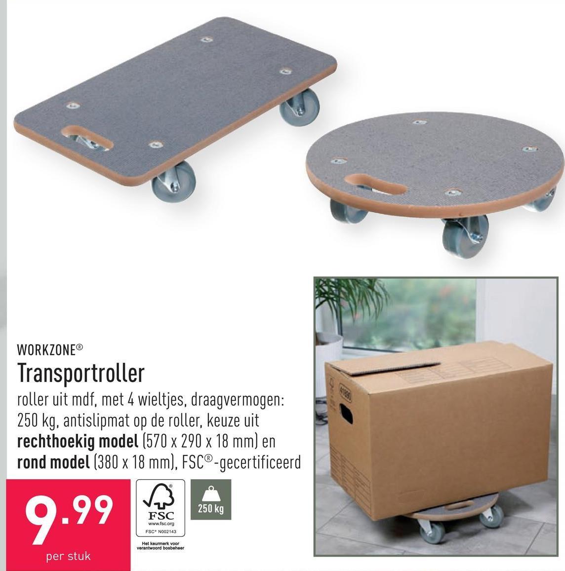 Transportroller roller uit mdf, met 4 wieltjes, draagvermogen: 250 kg, antislipmat op de roller, keuze uit rechthoekig model (570 x 290 x 18 mm) en rond model (380 x 18 mm), FSC®-gecertificeerd
