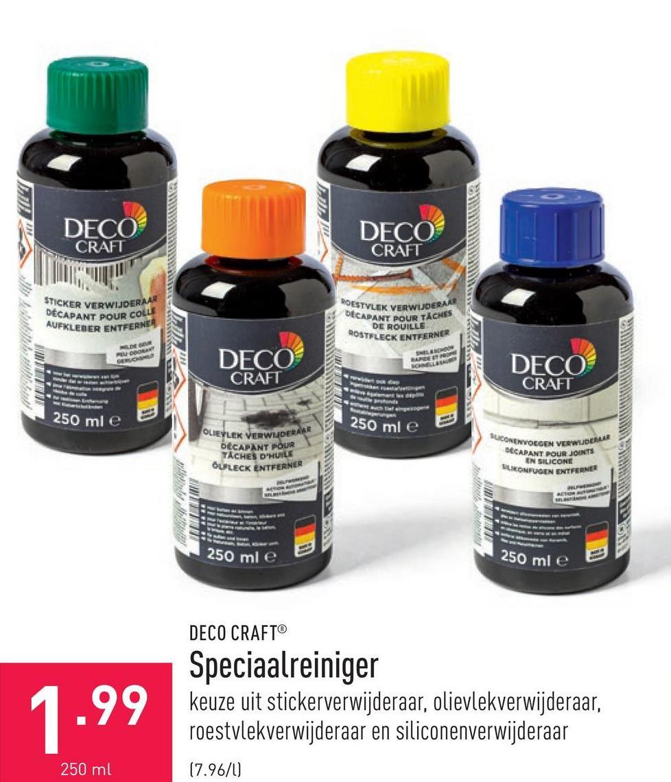Speciaalreiniger keuze uit stickerverwijderaar, olievlekverwijderaar, roestvlekverwijderaar en siliconenverwijderaar