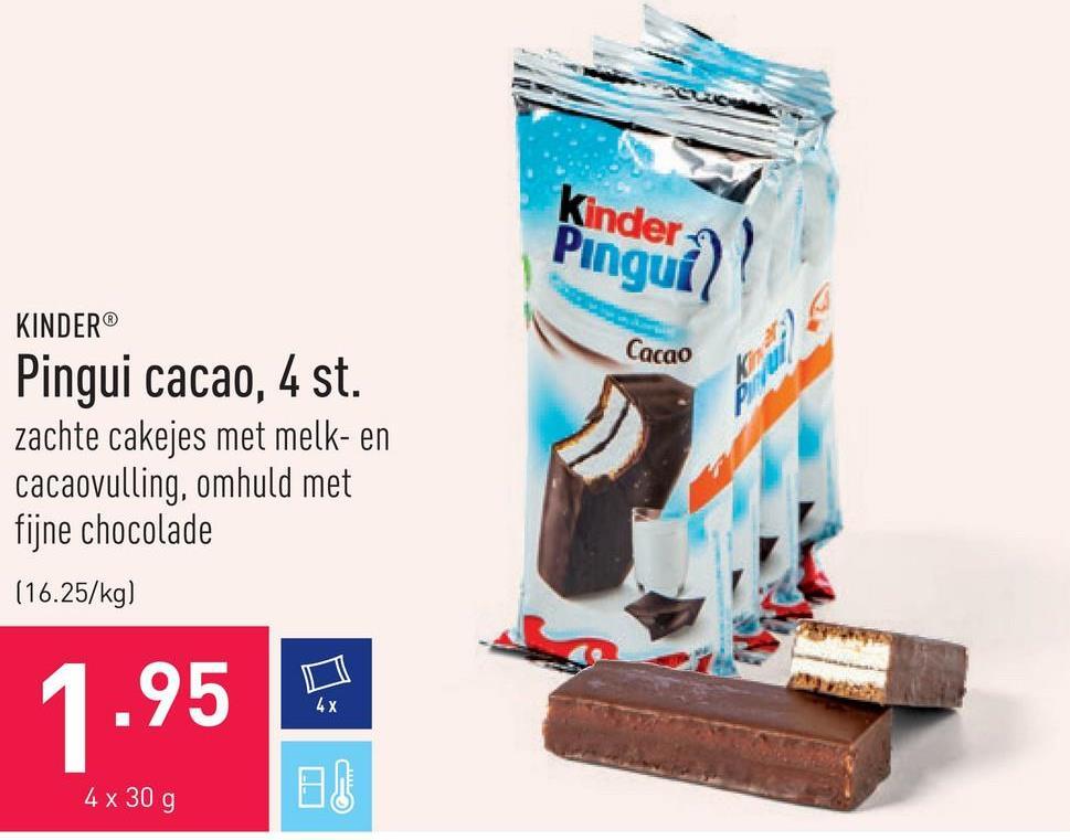 Pingui cacao, 4 st. zachte cakejes met melk- en cacaovulling, omhuld met fijne chocolade