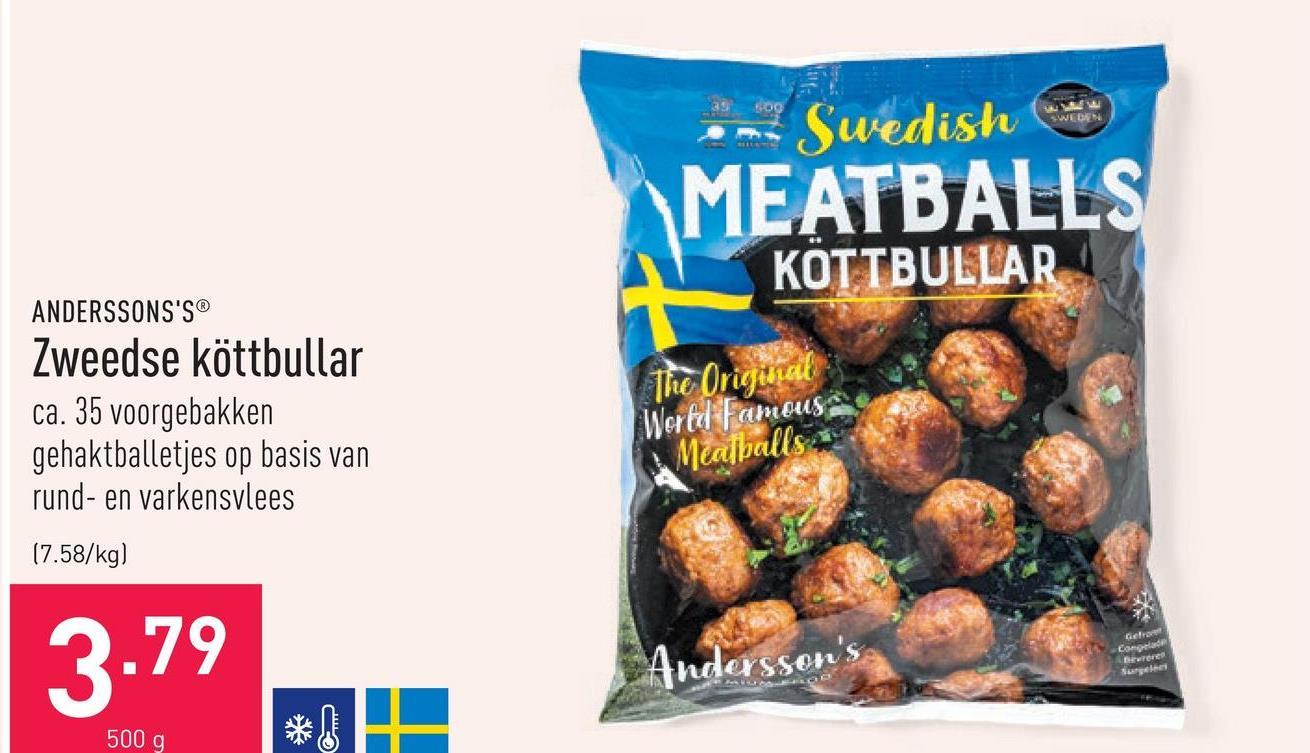 Zweedse köttbullar ca. 35 voorgebakken gehaktballetjes op basis van rund- en varkensvlees