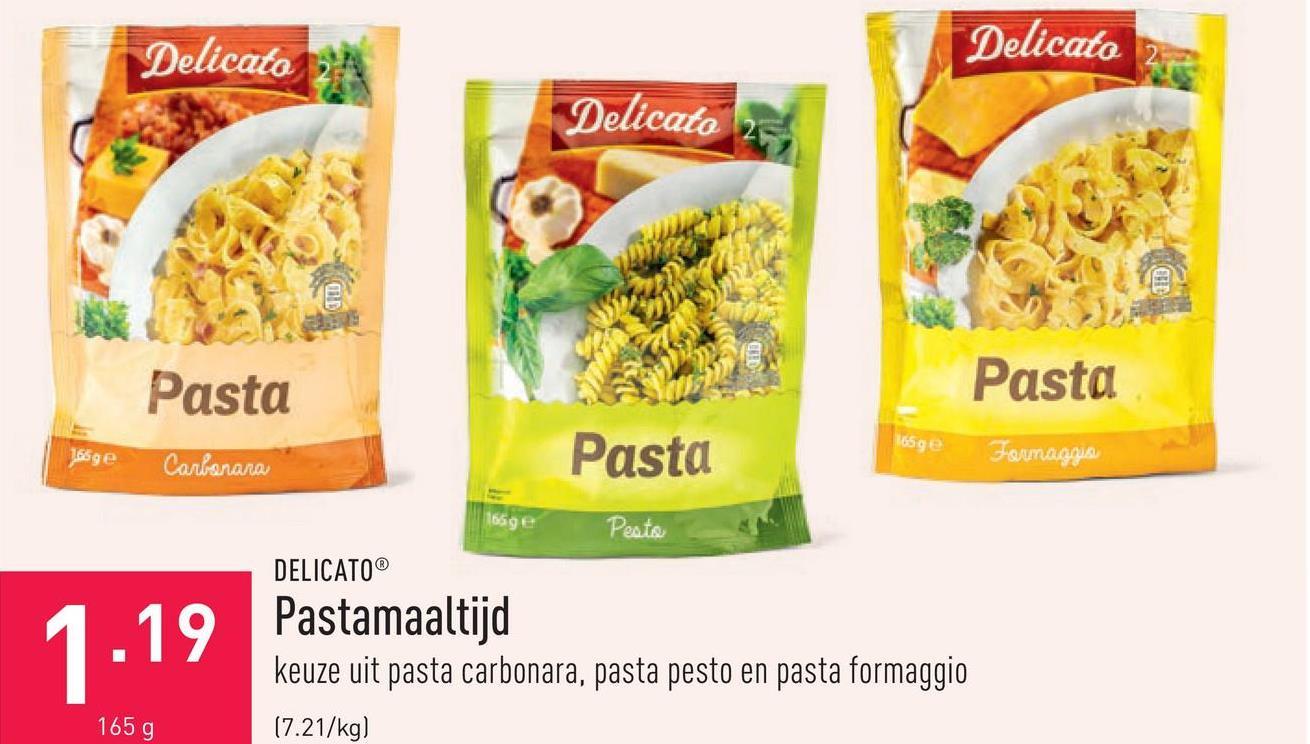 Pastamaaltijd keuze uit pasta carbonara, pasta pesto en pasta formaggio