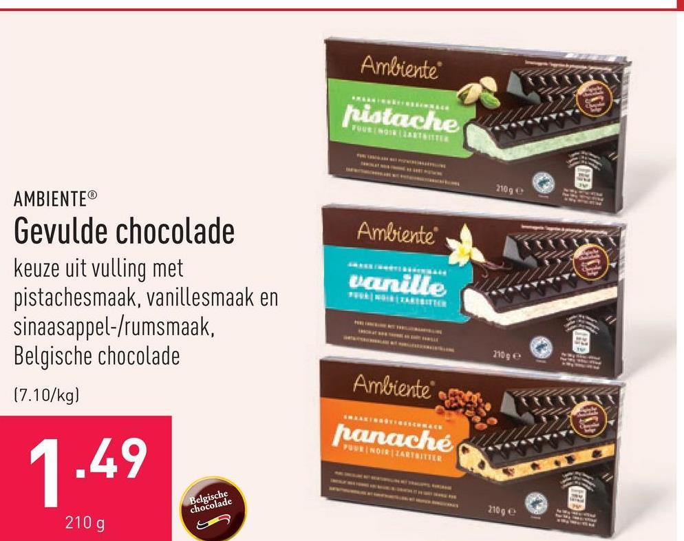 Gevulde chocolade keuze uit vulling met pistachesmaak, vanillesmaak en sinaasappel-/rumsmaak, Belgische chocolade