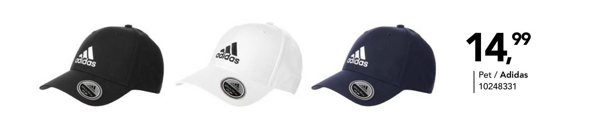 Pet Adidas - Zwart - Goedkope Sportaccessoires - Polyester Sobere, effen sportpet met Adidas-logo. Verkrijgbaar in verschillende kleuren.