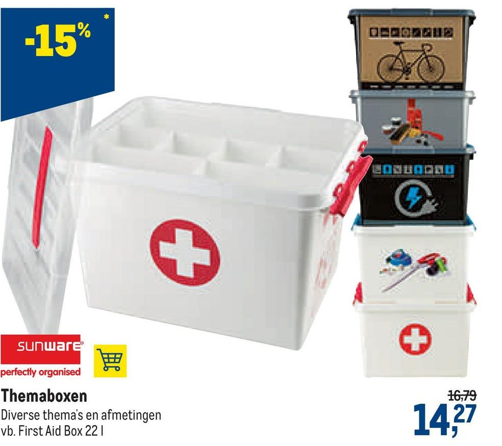 [2003CUP2 -15% EONUNDA + Sunware BE perfectly organised 16,79 Themaboxen Diverse thema's en afmetingen vb. First Aid Box 221 14,27