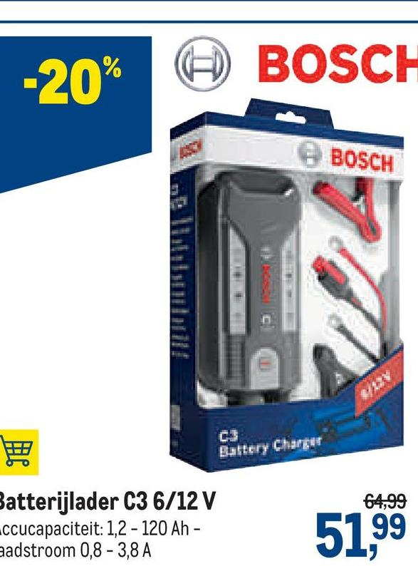 -20% 6 BOSCH BOSCH Battery Charger 64,99 Batterijlader C3 6/12 V ccucapaciteit: 1,2 - 120 Ah - aadstroom 0,8 -3,8 A 51,99