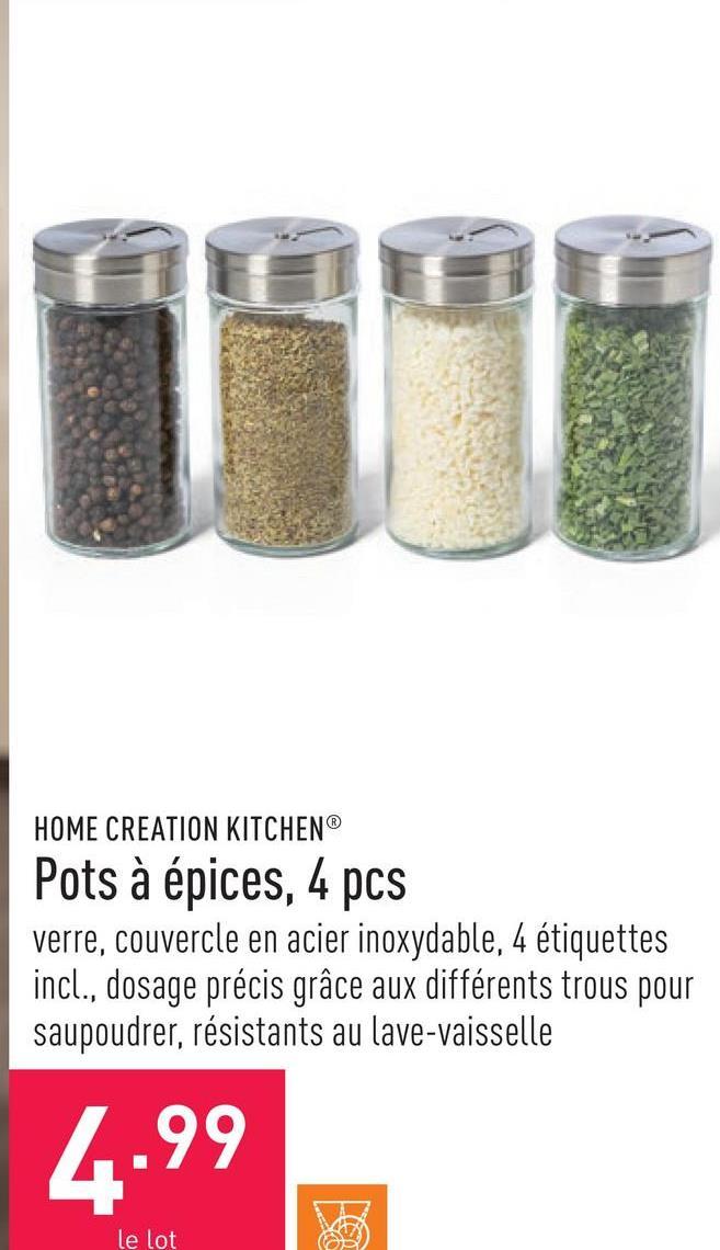 Pots à épices, 4 pcs verre, couvercle en acier inoxydable, 4 étiquettes incl., dosage précis grâce aux différents trous pour saupoudrer, résistants au lave-vaisselle