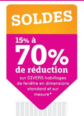 SOLDES 15% à 70% de réduction sur DIVERS habillages de fenêtre en dimensions standard et sur mesure*