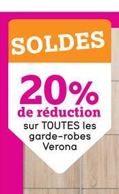 SOLDES 20% de réduction sur TOUTES les garde-robes Verona
