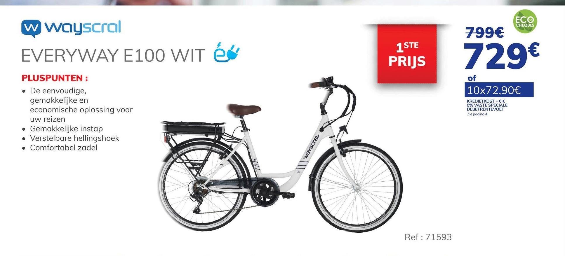 """Elektrische Fiets Wayscral Everyway E100 Wit De WAYSCRAL Everyway E100 is een stadsfiets die uitgerust is met de nieuwste technologie om de prestaties en betrouwbaarheid dagelijks te garanderen. Het is de meest economische fiets in het gamma. Deze stadsfiets heeft een 250 W motor achterin en een SAMSUNG 36 V 7.8 Ah lithiumcel batterij waarmee u tussen de 25 en 40 km kunt rijden. De assistentie helpt u tot 25 km/u. De batterij kan in 3 tot 4 uur worden opgeladen. De Easyway E100 heeft een kettingbeschermer om de ketting vrij te houden van vuil en stof en om het kettinggeluid te verminderen. Het heeft ook een kantelbare stuurpen. Deze fiets heeft een externe Shimano 6-versnellingsbak. Het is sterk en licht dankzij de aluminium samenstelling. Het LED-display maakt het mogelijk om de 3 ondersteuningsniveaus en het batterijniveau te regelen. De lader wordt bij de fiets geleverd. Het is een eenvoudige, praktische en economische oplossing voor alledaagse reizen.. - Stadsfiets uitgerust met de nieuwste technologie. - Achterste 250 W motor. - SAMSUNG lithiumbatterij 36 V 7,8 Ah. - Sterk en licht. - LED-display Ontdek de premies bij het kopen van een elektrische fiets. Klik hier >"""""""