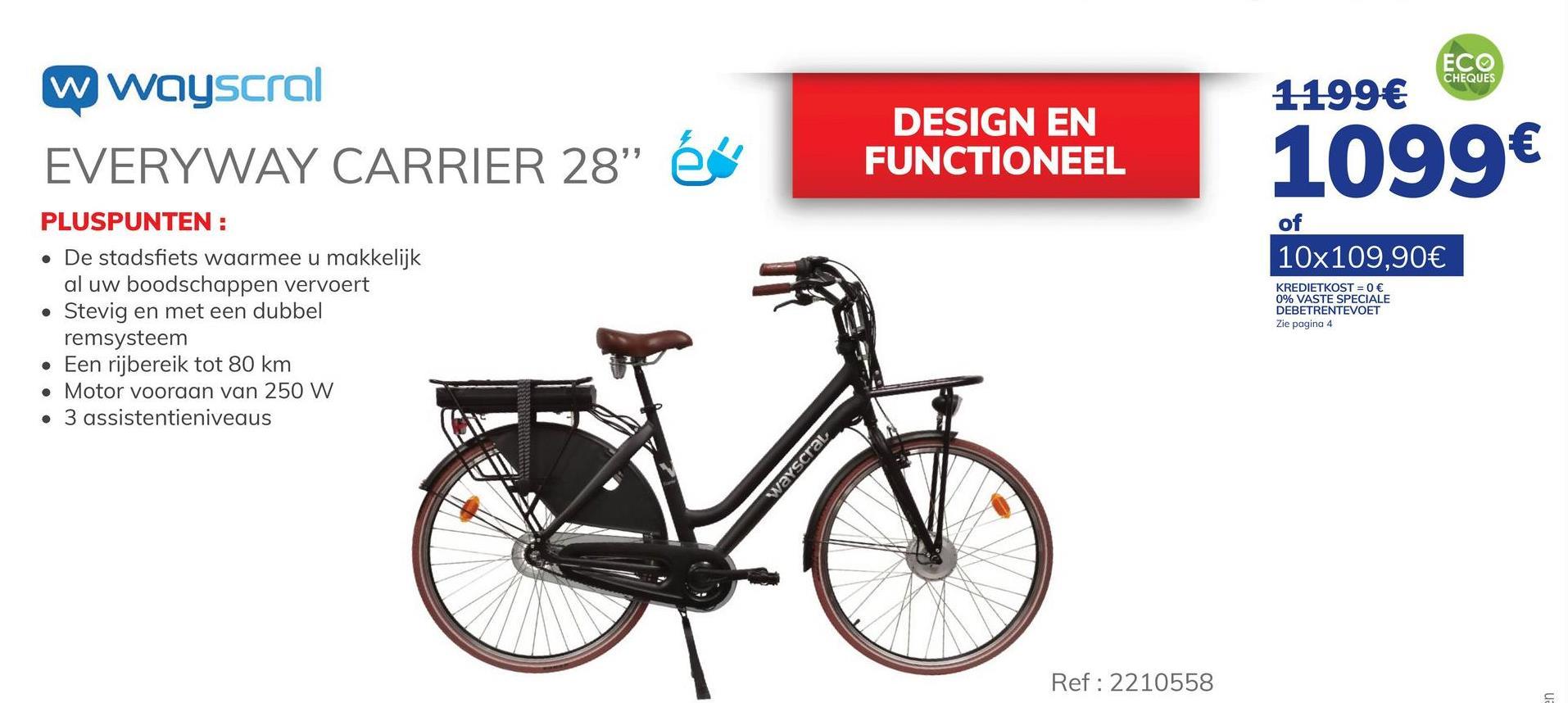 """Elektrische Fiets Wayscral Everyway Carrier 28 Zwart"""" De elektrische stadsfiets WAYSCRAL Everyway Carrier 28 Zwart is een stadsfiets waarmee u met gemak al uw boodschappen of andere zaken kan vervoeren. Hij heeft een bereik van 60 à 80 km, afhankelijk van je snelheid, dankzij de voorwielmotor van 250 W en koppel van 34 Nm en de lithiumcelbatterij SAMSUNG 36 V 13 Ah 468 Wh. Daarnaast beschikt de fiets over 28"""" wielen. Hij heeft ook een dubbel remsysteem van het type V-Brake en """"SHIMANO Roller brake"""" geïntegreerd in de achternaaf. Bovendien heeft hij een interne transmissie in de achternaaf met 7 versnellingen van ''SHIMANO Nexus'', een kettingkast, spatborden, een bagagedrager vooraan en achteraan, en een pikkel. Tot slot kunt u met een LED-display de 3 bijstandsniveaus en het batterijniveau beheren. De assistentie helpt u tot 25 km/u. De oplaadtijd van de batterij bedraagt 5 à 6 uur. De lader en de batterij worden bij de fiets geleverd. Voor meer informatie over dit product verwijzen wij u graag door naar de website van het merk Wayscral."""". - Tot 80 km bereik. - Lithiumcelbatterij van SAMSUNG 36 V 13 Ah 468 Wh. - Voorwielmotor van 250 W en 34 Nm koppel. - Interne transmissie aan achternaaf met 7 versnellingen van SHIMANO Nexus - Dubbel remsysteem: van het type V-Brake en SHIMANO Roller brake geïntegreerd in de achternaaf. Ontdek de premies bij het kopen van een elektrische fiets. Klik hier >"""""""