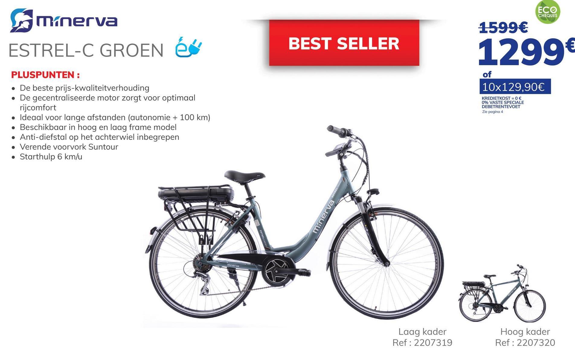 """Minerva Estrel C Dames Groen Een best seller, de MINERVA Estrel C is een stijlvolle fiets die dankzij zijn verende vork u extra comfort biedt op alle wegen. Het is sterk en licht dankzij het aluminium kader. De krachtige 250 W middenmotor die over 5 ondersteuningsstanden beschikt zal u met de Phylion batterij 36V/13,8AH een betrouwbare en efficiënte hulp bieden. De oplaadtijd van de batterij is 5 tot 6 uur en de autonomie is 80 tot 100 km. De fiets is voorzien van een 6 km lang assistentie waarbij het niet nodig is om te trappen. Het remsysteem is een mechanische schijf. Doordat de motor zich in het midden bevindt en de batterij onder de bagagedrager is de fiets zeer stabiel en wendbaar. De oplader wordt bij de fiets geleverd. Alle Minerva en Orus fietsen krijgen een garantie van 3 jaar mee, met en gratis jaarlijks onderhoud tijdens de garantie periode*. Meer info in een Auto5 center. *Uitgezonderd onderdelen Denk eraan! Fietsen en fietstoebehoren kan u ook betalen met Ecocheques in een Auto5 center 5 redenen om een Minerva of Orus elektrische fiets te kopen bij Auto5: Klik hier. """""""". - stijlvol en comfortabel - 28 wielen - motor trapas 250 WATT - Shimano Acera 7 versnellingen - phylion batterij 36V/13,8AH"""""""