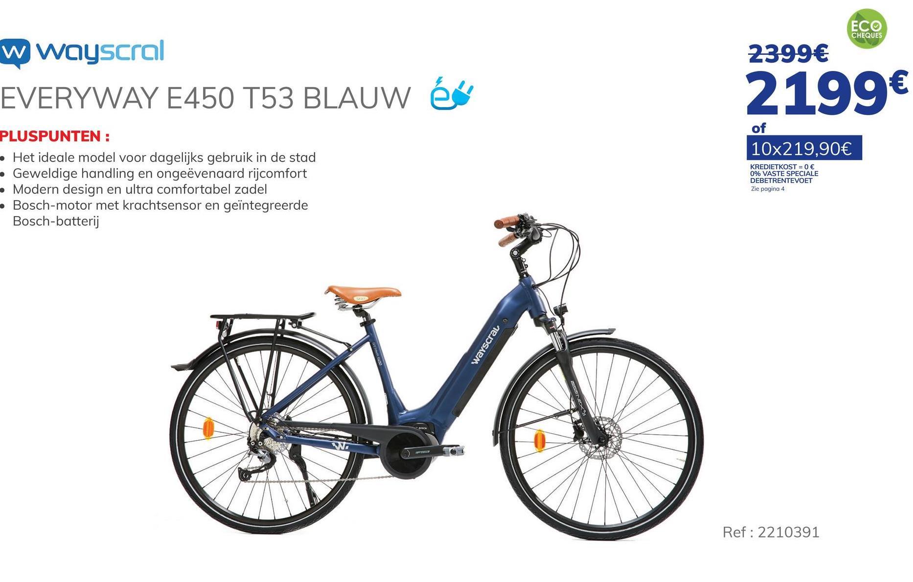 """Elektrische Fiets Wayscral Everyway E450 T53 28 Blauw"""" De WAYSCRAL Everyway E450 T53 28 Blue elektrische stadsfiets is de fiets met de meest volledige uitrusting in ons assortiment. Deze stadsfiets is ideaal voor het dagelijkse woon-werkverkeer. Hij heeft een bereik van 60 tot 80 km, afhankelijk van uw snelheid, dankzij zijn middenmotor BOSCH Active Plus van 250 W en een koppel van 50 Nm en de batterij BOSCH Power Tube 396 Wh. Daarnaast beschikt hij 28"""" wielen en een aluminium kader van 53 cm. De fiets heeft ook een SUNTOUR telescopische vork en een kantelbare stuurpen om het rijcomfort van de fietser te verbeteren. De fiets is uitgerust met hydraulische schijfremmen van SHIMANO voor uw veiligheid, en heeft een transmissie met 9 versnellingen van SHIMANO Alivio, kettingkast, spatborden, bagagedrager en pikkel. Tot slot is het dankzij de BOSCH Intuvia LCD-boordcomputer mogelijk om de kilometragefuncties en de 5 assistentieniveaus te regelen. De assistentie helpt u tot 25 km/u. De oplaadtijd van de batterij bedraagt 4 à 5 uur. Lader en batterij worden meegeleverd met de fiets. Voor meer informatie over dit product verwijzen wij u graag door naar de website van het merk Wayscral."""". - Bereik tot 80 km. - Batterij BOSCH Power Tube 396 Wh - Middenmotor BOSCH Active Plus van 250 W en 50 Nm- Transmissie met 9 versnellingen SHIMANO Alivio - Hydraulische schijfremmen SHIMANO. Ontdek de premies bij het kopen van een elektrische fiets. Klik hier >"""""""