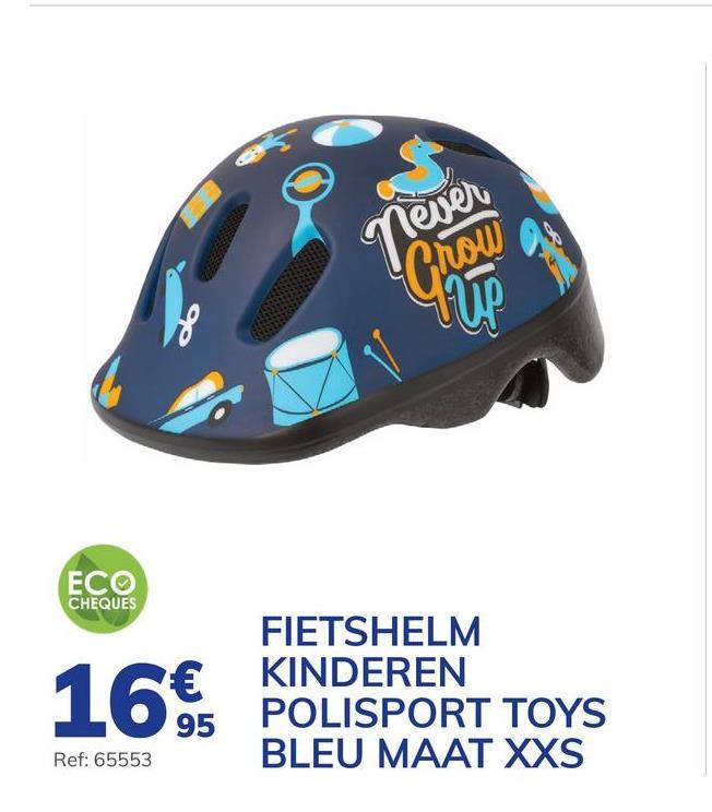 Fietshelm Voor Kinderen Polisport Toys Blauw Maat Xxs Deze mooie, lichtgewicht en zeer comfortabele helm beschermt een erg grote zone van het hoofd van uw kind. Dankzij het snelle sluitsysteem en het regelsysteem aan de achterzijde past deze helm zich perfect aan het hoofd van uw kind aan. Deze helm voor erg jonge kinderen is ideaal wanneer het kind in een draagzak zit. De helm past zich perfect aan het hoofd van het kind aan en is geschikt voor hoofdjes met een omtrek van 44 tot 48 cm. De mooie tekeningen en de matte afwerking geven de helm een mooie uitstaling. Bovendien voldoet hij aan de Europese veiligheidsnorm EN 1078.. - Snel sluitsysteem. - Regelbaar aan de achterkant. - Europese veiligheidsnorm EN 1078.
