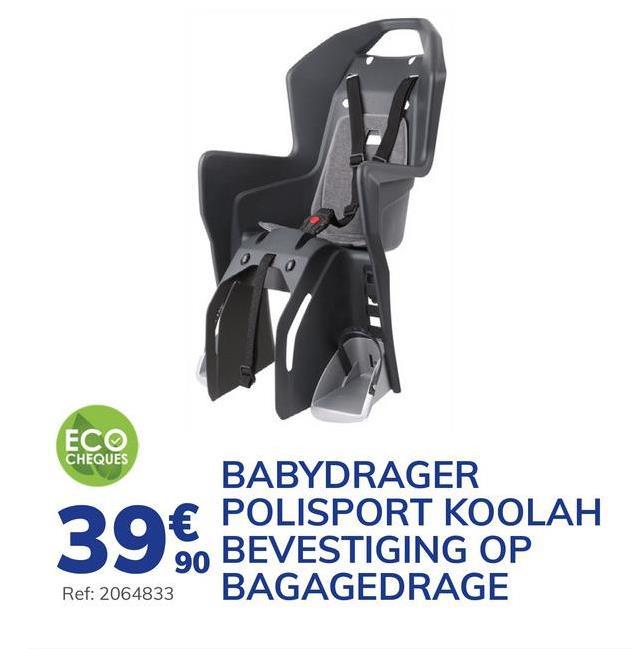 Fietsstoeltje Polisport Koolah Bevestiging Aan Bagagedrager Vertrek met uw gezin overal naartoe dankzij dit fietsstoeltje POLISPORT. Dit stoeltje is geschikt voor kinderen van 9 maanden tot 4/5 jaar en van minder dan 22 kg en wordt bevestigd op de bagagedrager van uw fiets. Het is compatibel met de meeste bagagedragers op de markt en is heel eenvoudig te monteren. Het stoeltje is heel comfortabel. Het heeft een ergonomische vormom niet storend te zijn voor het kind dat een helm draagt e voetsteunen zijn in de hoogte verstelbaar en zijn voorzien van een riempje om de voetjes vast te houden. Voor de veiligheid is er een in 3 standen verstelbare veiligheidsgordel die het kind vasthoudt, rekening houdend met zijn gestalte. Een reflecterende sticker achteraan het stoeltje wijst de andere weggebruikers op uw aanwezigheid. Na uw fietstocht volstaan enkele seconden om het zeteltje van de bagagedrager te halen.. - Ergonomische vorm. - Bevestiging van het in 3 standen verstelbare harnas. - In de hoogte verstelbare voetensteun.