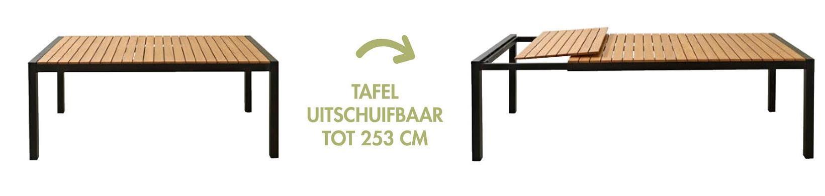 TAFEL UITSCHUIFBAAR TOT 253 CM