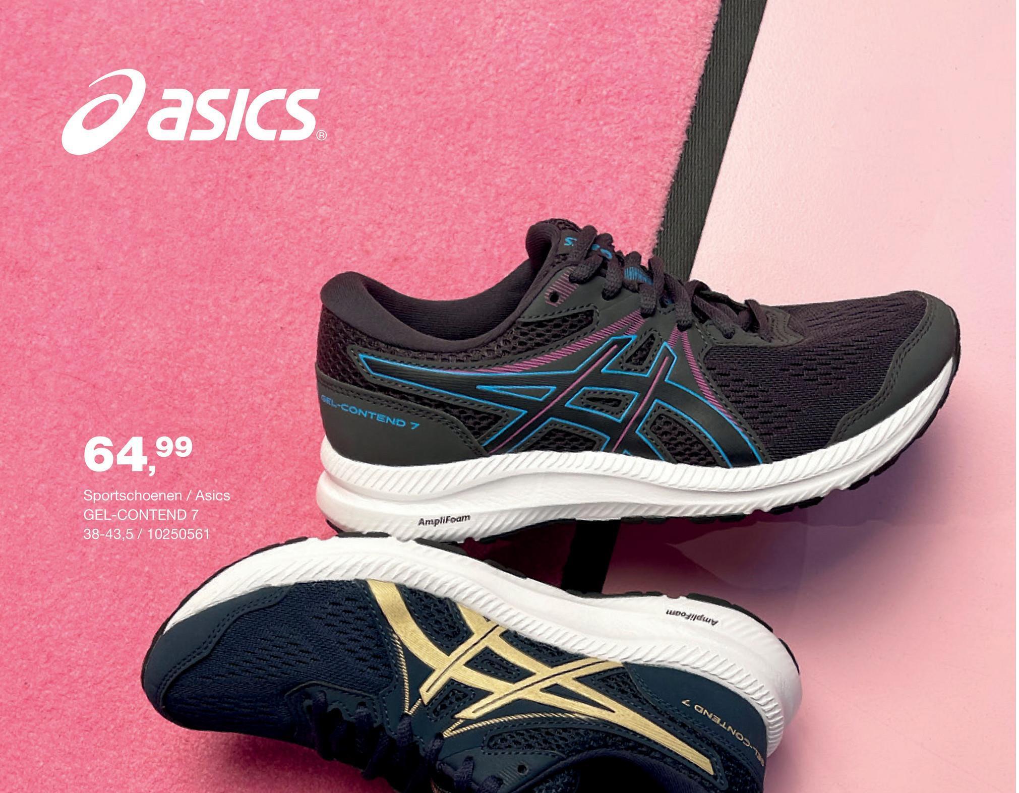 Loopschoen Gel Contend 7 Asics - Donkerblauw - maat 41,5 - Dames   - Goedkope Sportschoenen - Running - Synthetisch Nog op zoek naar een comfortabele en kwalitatieve loopschoen voor vrouwen? Kies dan zeker voor deze Gel Contend 7 met veters van het merk Asics.