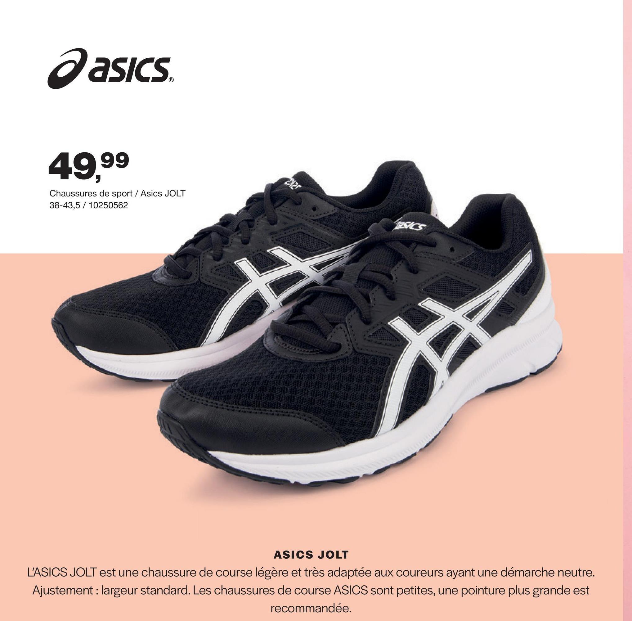 Chaussure de course Jolt 3 Asics - Noir Ce Jolt 3 de la marque Asics est une chaussure de course légère pour femmes. La semelle intérieure absorde les chocs et donne un confort optimal.