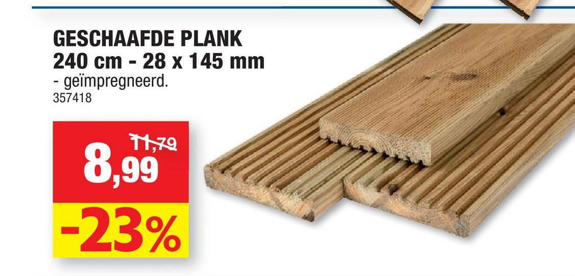 GESCHAAFDE PLANK 240 cm - 28 x 145 mm geïmpregneerd. 357418 Tyg 8,99 -23%