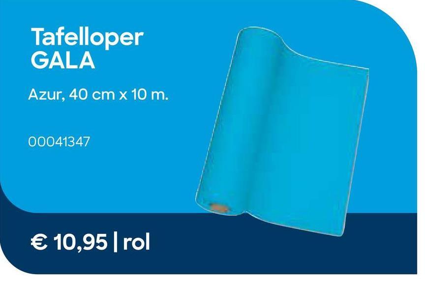 GALA Tafelloper Azur 40cm x 10m Blauw Maak je tafel af met een tafelloper die je in de lengte over je tafel rolt of die je als tête-à-tête gebruikt.<br> Stem de kleur van je  tafelloper af met de servetten en de tafelrol en je krijgt meteen een mooi geheel.<br> Met het GALA gamma kies je voor superieure kwaliteit: een aangenaam linnen gevoel voor een extra stijlvolle tafel.<br><ul><li> Beschikbaar in verschillende kleuren</li><li> Met zorg gemaakt in eigen productie in België</li><li>Rol van 10m x 40 cm</li></ul>