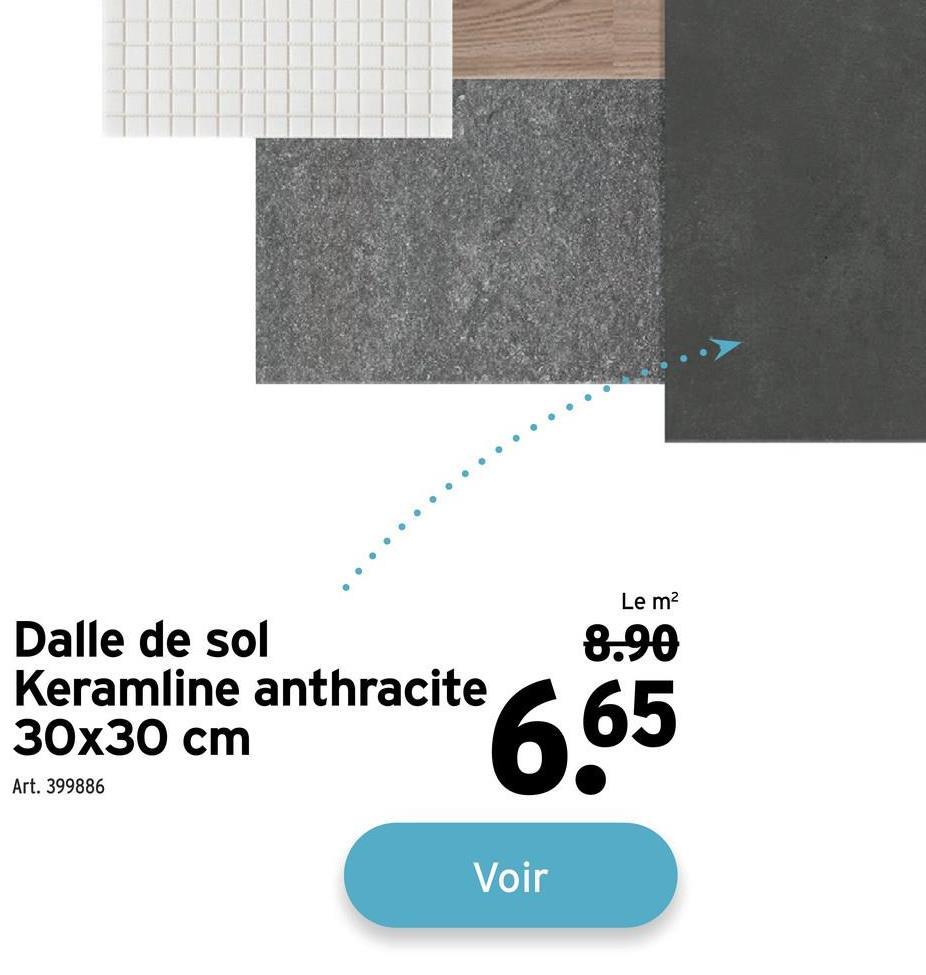 Le m2 8.90 Dalle de sol Keramline anthracite 30x30 cm 665 Art. 399886 Voir