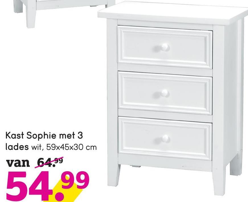 Kast Sophie met 3 lades wit, 59x45x30 cm van 64.99 54.99