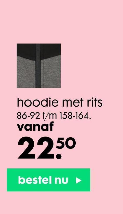 hoodie met rits 86-92 t/m 158-164. vanaf 2250 bestel nu
