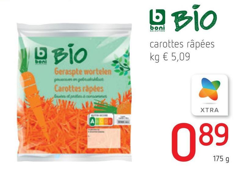 b BIO boni SELECTION O BIO carottes râpées kg € 5,09 Geraspte wortelen Carottes rápdes Times of XTRA A А DEL 089 175 g