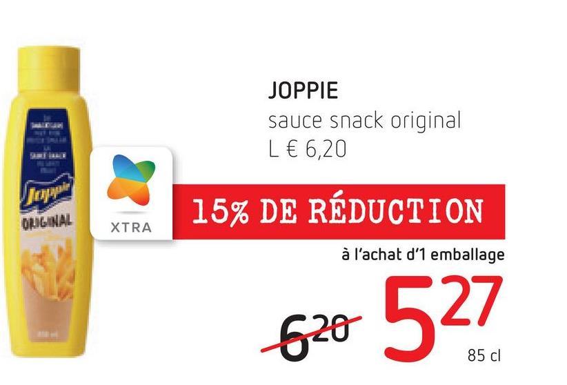 JOPPIE sauce snack original L € 6,20 лауар 15% DE RÉDUCTION ORIGINAL XTRA à l'achat d'1 emballage 620 527