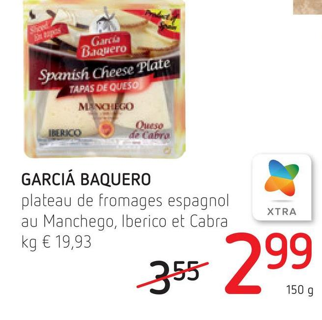 EP Bulquero Spanish Cheese Plate TAPAS DE QUESO MNOHBO IMERO de Cabra GARCIA BAQUERO plateau de fromages espagnol au Manchego, Iberico et Cabra kg € 19,93 XTRA 355 299 150 g