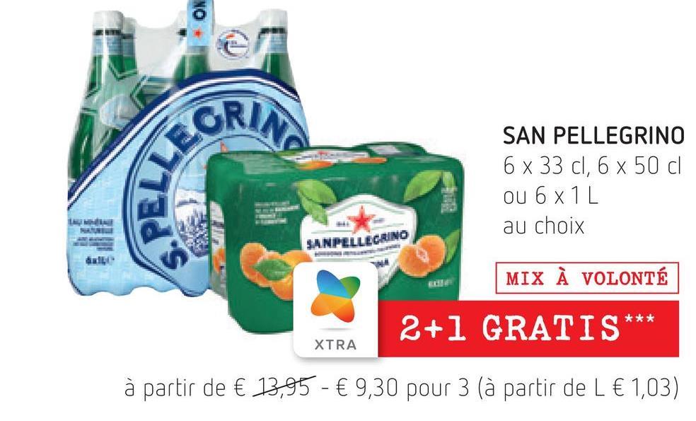 GRANA SPELL SAN PELLEGRINO 6 x 33 cl, 6 x 50 cl ou 6x1L au choix SANPELLEGRINO MIX À VOLONTÉ *** 2+1 GRATIS XTRA à partir de € 13,95 - € 9,30 pour 3 (à partir de L € 1,03)