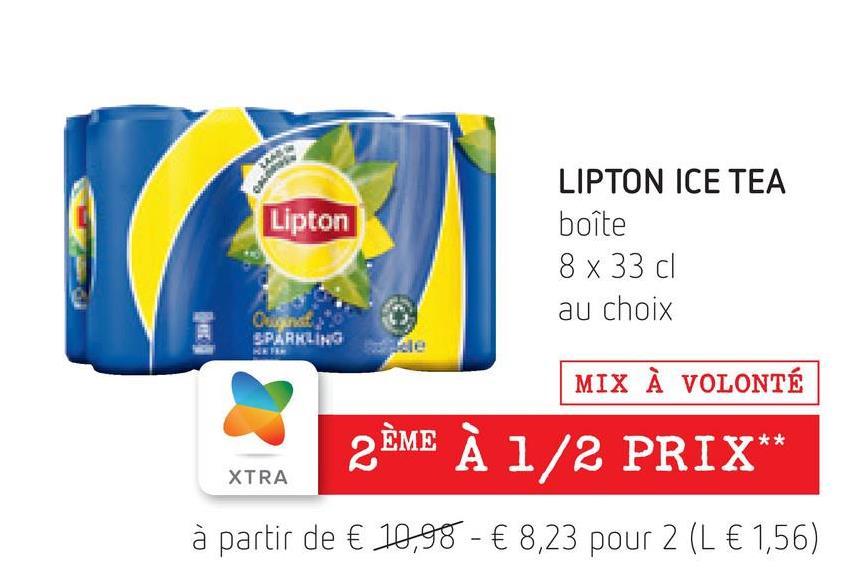 ho Lipton LIPTON ICE TEA boîte 8 x 33 cl au choix Canal SPARKLING MIX À VOLONTÉ 2ÈME À 1/2 PRIX** XTRA à partir de € 10,98 - € 8,23 pour 2 (L € 1,56)